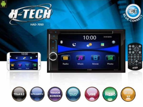 "DVD 2 DIN 6,2"" USB/SD/AUX/BT/GPS/TV/Espelhamento*"